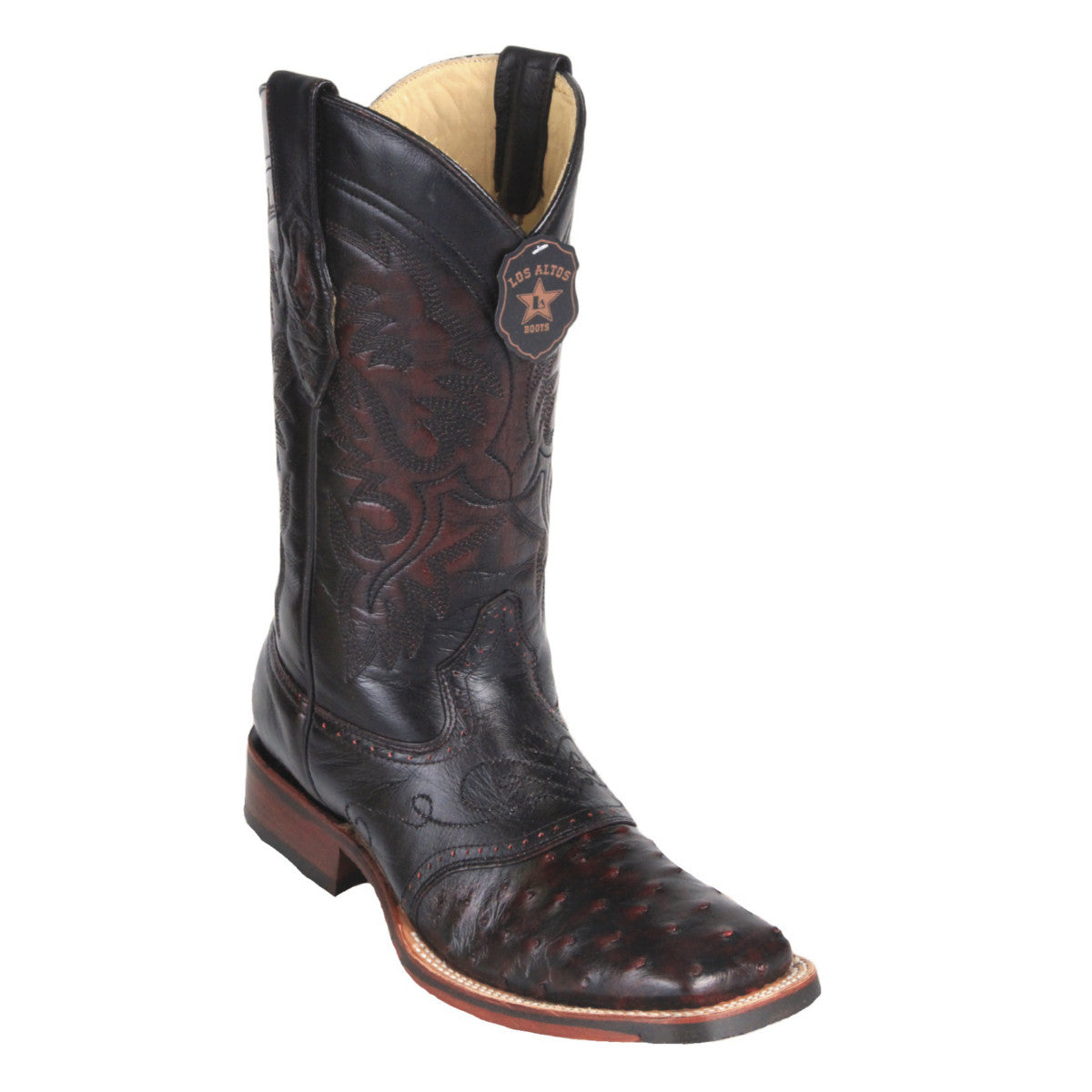 Los Altos Boots Wide Square Toe Ostrich w/Saddle