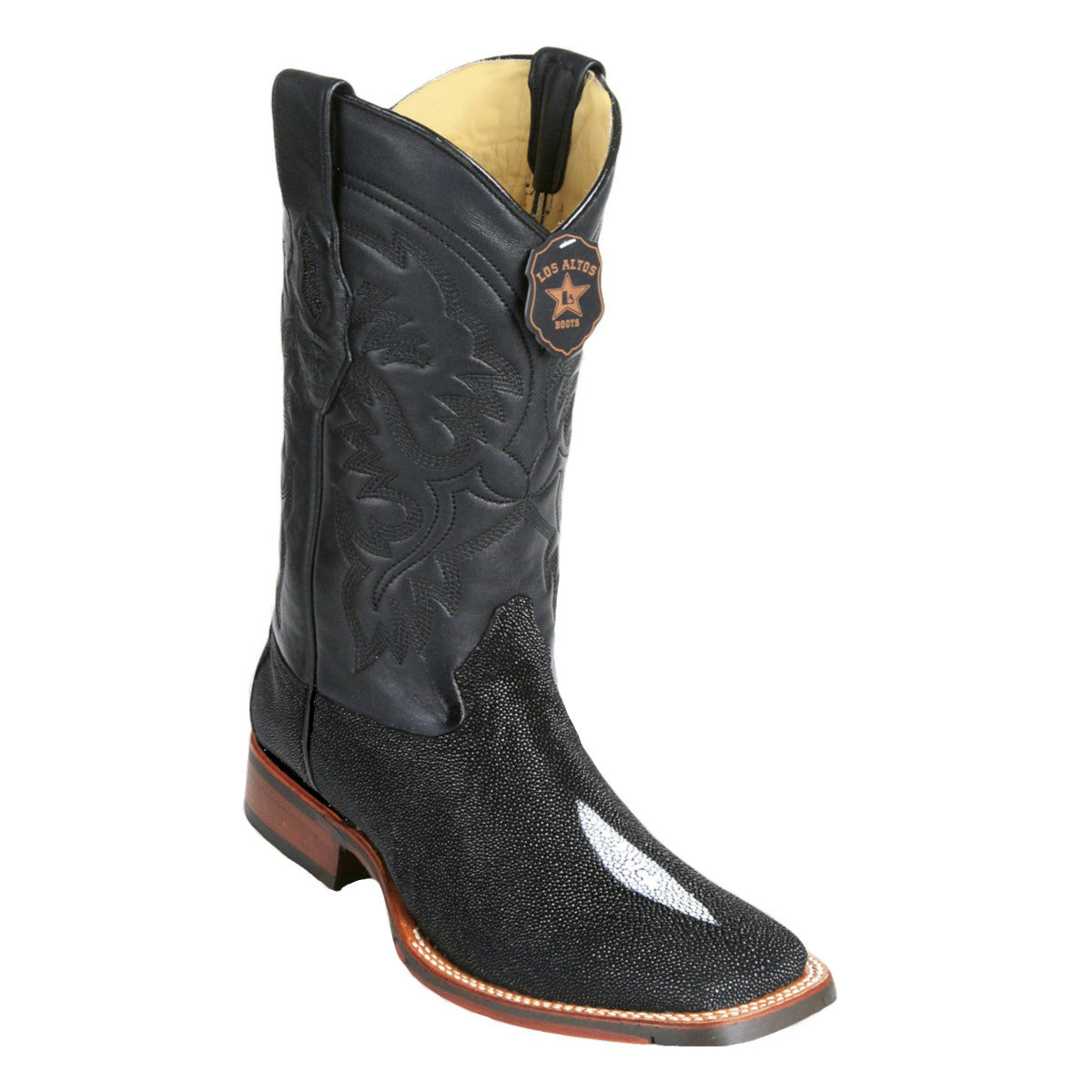 Los Altos Boots Wide Square Toe Stingray Single Stone