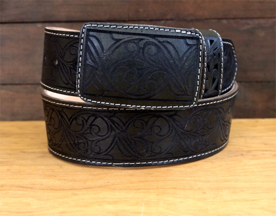 Men's Black Embroidered Cowboy Belt