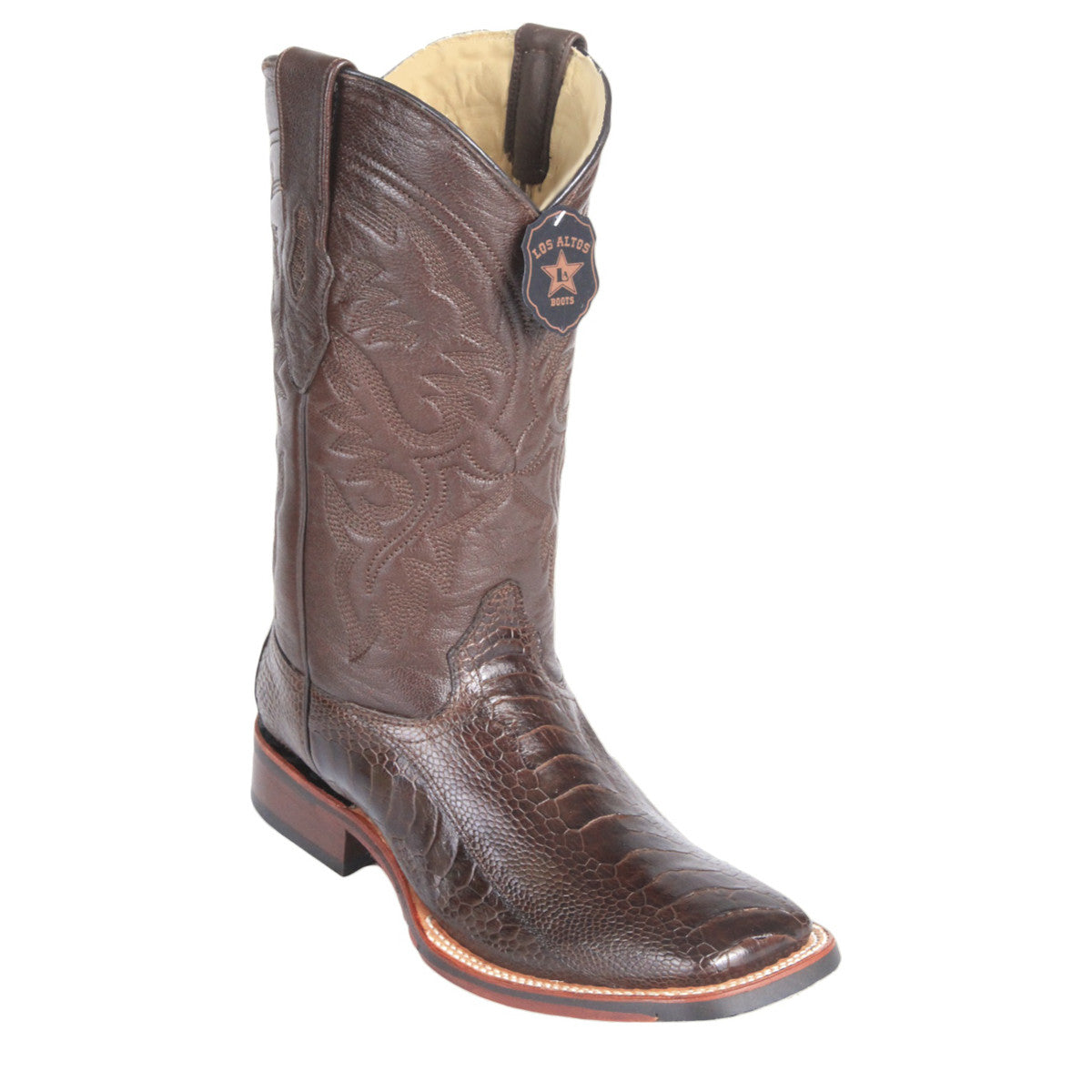 Los Altos Boots Wide Square Toe Ostrich Leg