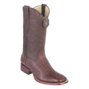 Los Altos Boots H82 Wide Square Toe Caiman Hornback - Grasso Brown