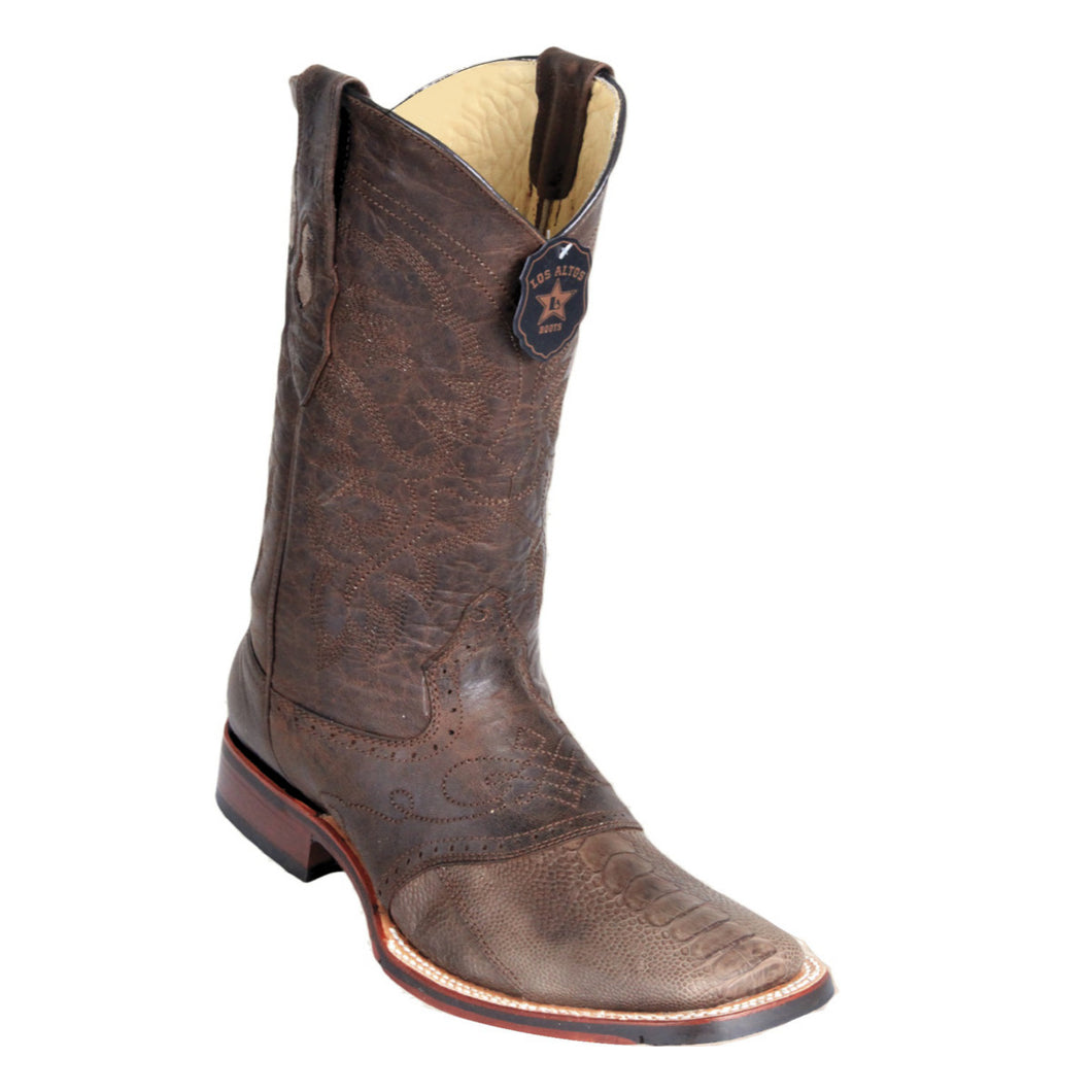 Los Altos Boots H82 Wide Square Toe Ostrich Leg - Grasso Brown