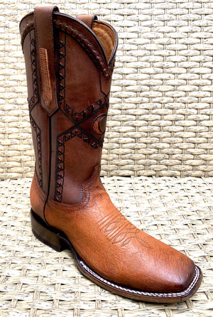 Bota Cuadra Wide Square Toe Smooth Ostrich 3Z01AB - Flame Miel
