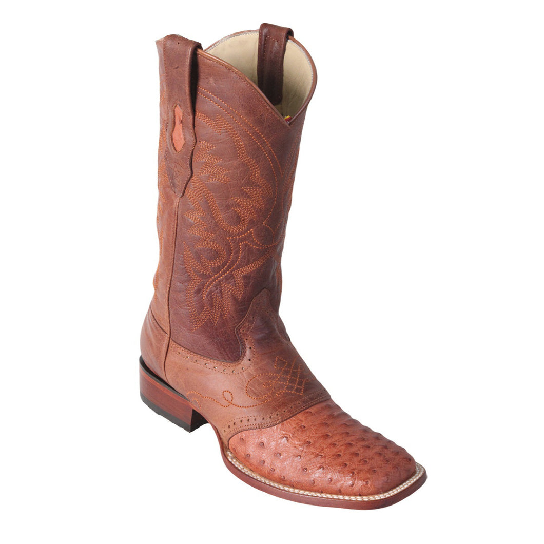 Los Altos Boots H82 Wide Square Toe Ostrich - Cognac