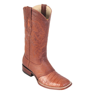 Los Altos Boots H82 Wide Square Toe Caiman Belly - Cognac