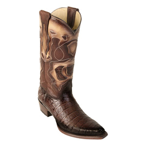 Los Altos Boots H94 Snip Toe Caiman Belly - Faded Brown