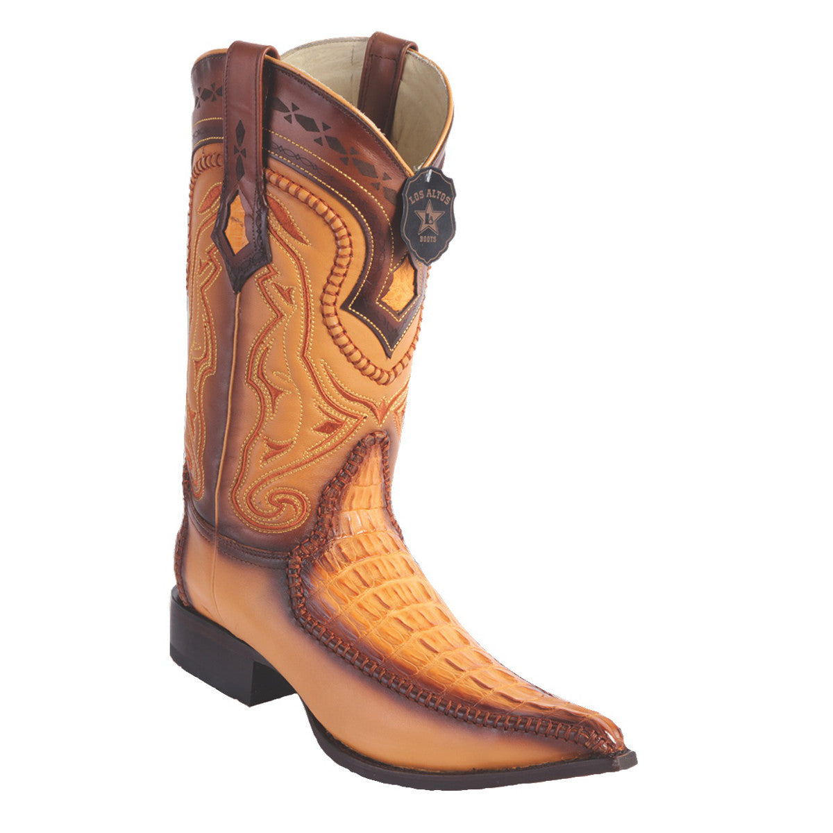 Los Altos Boots 3x Toe Stitched Caiman Tail w/Deer