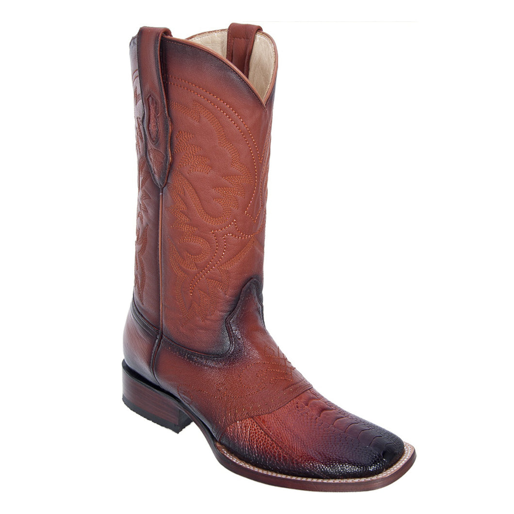 Los Altos Boots Wide Square Toe Ostrich Leg w/Saddle