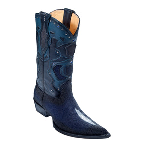 Los Altos Boots H95 3X Toe Stingray Single Stone w/Cowboy Heel - Faded Navy Blue