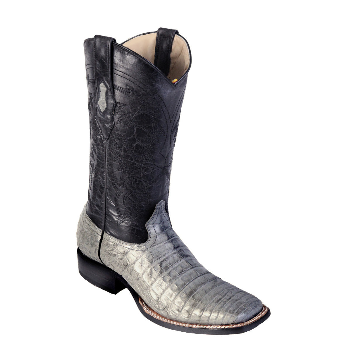 Los Altos Boots H82 Wide Square Toe Caiman Belly - Gray