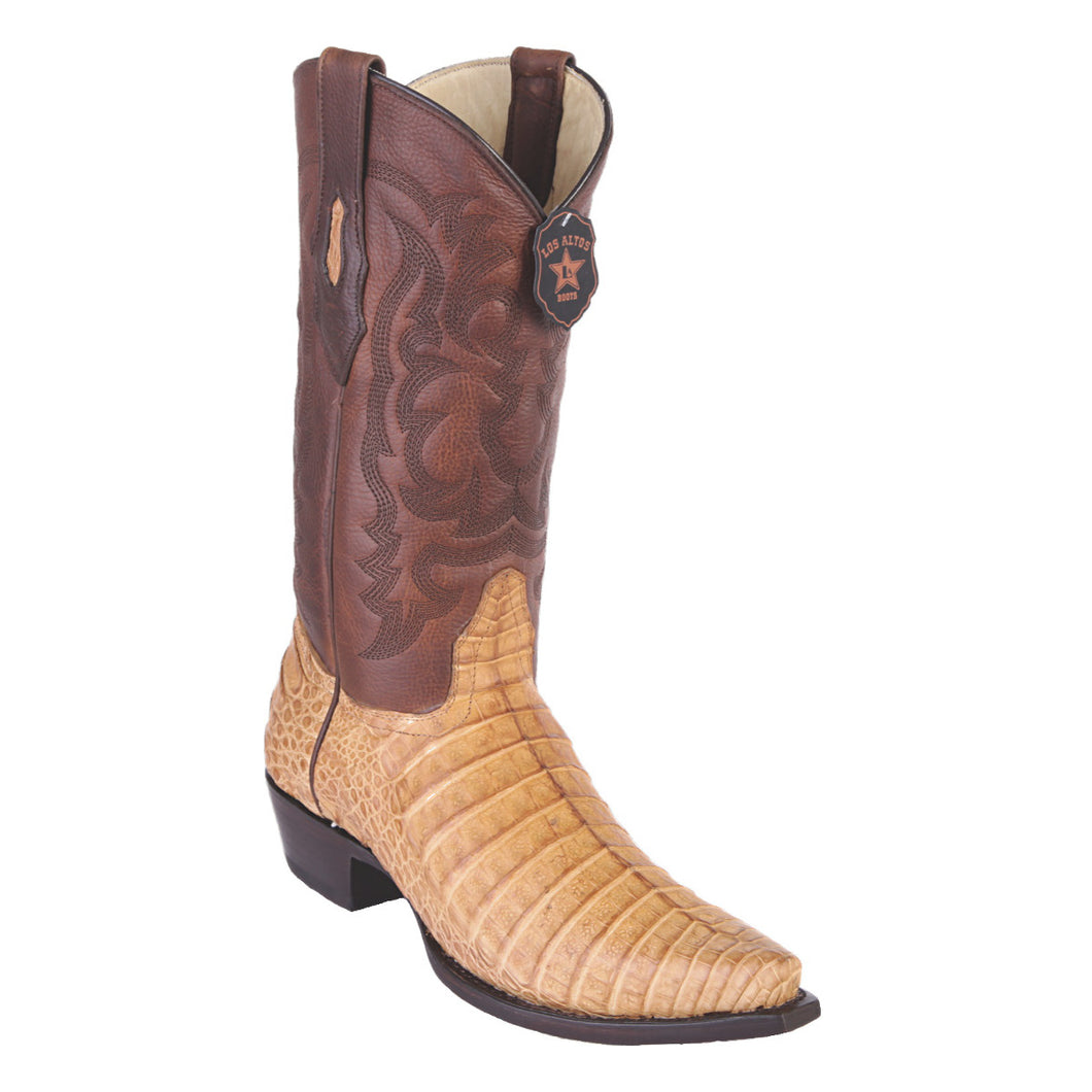 Los Altos Boots H94 Snip Toe Caiman Belly - Grasso Honey