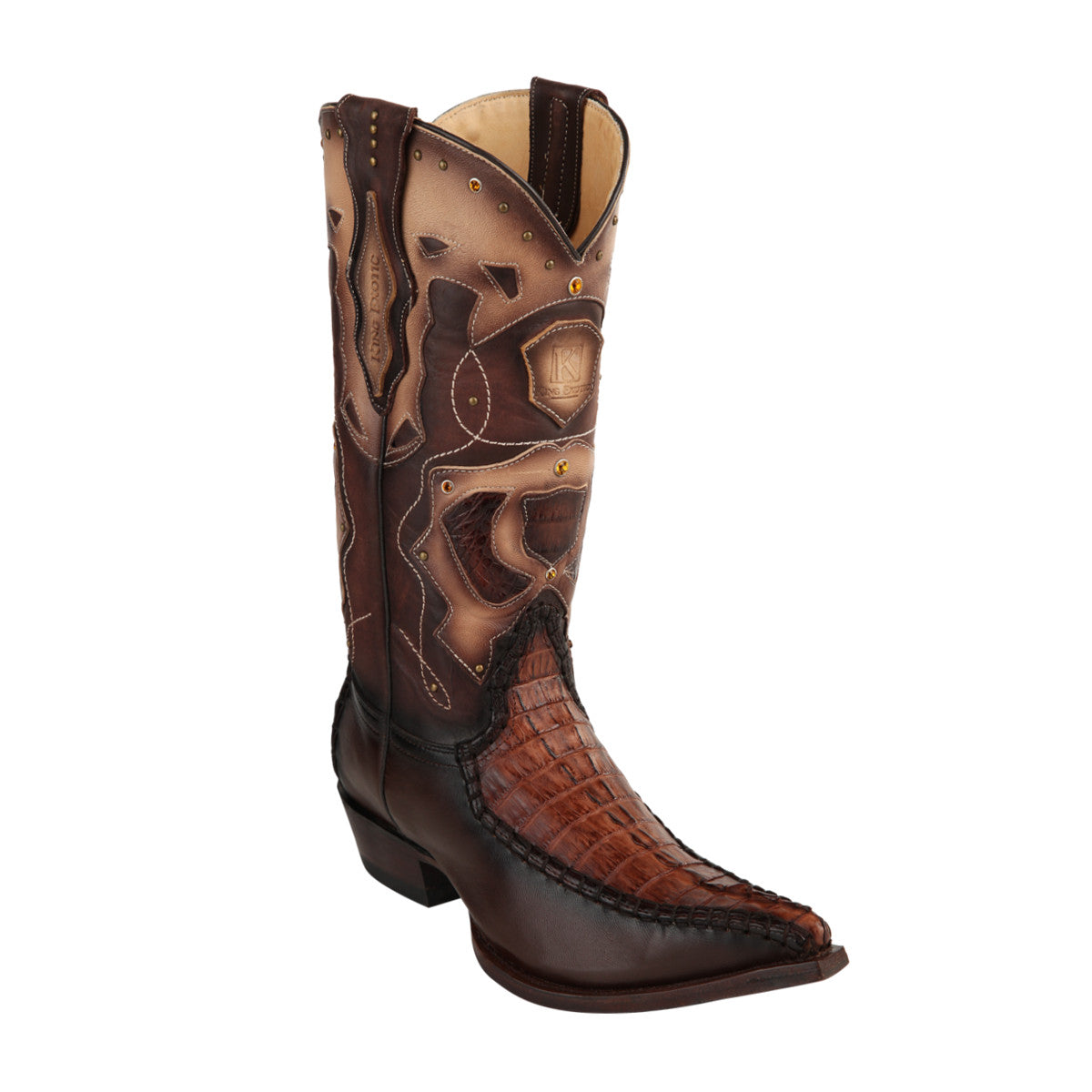 King Exotic H95 3x Toe Caiman Tail Stitched - Brown