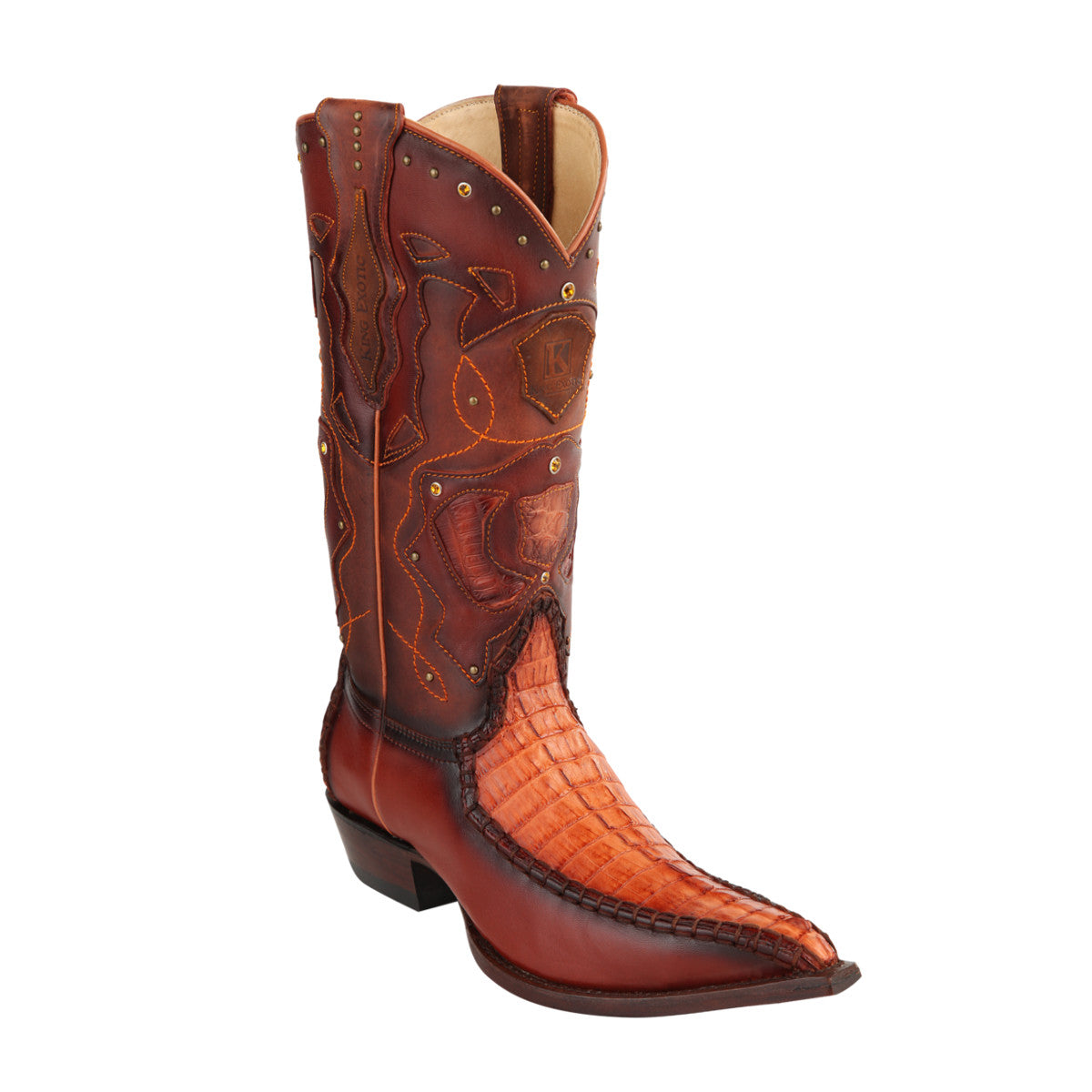 King Exotic H95 3x Toe Caiman Tail Stitched - Cognac