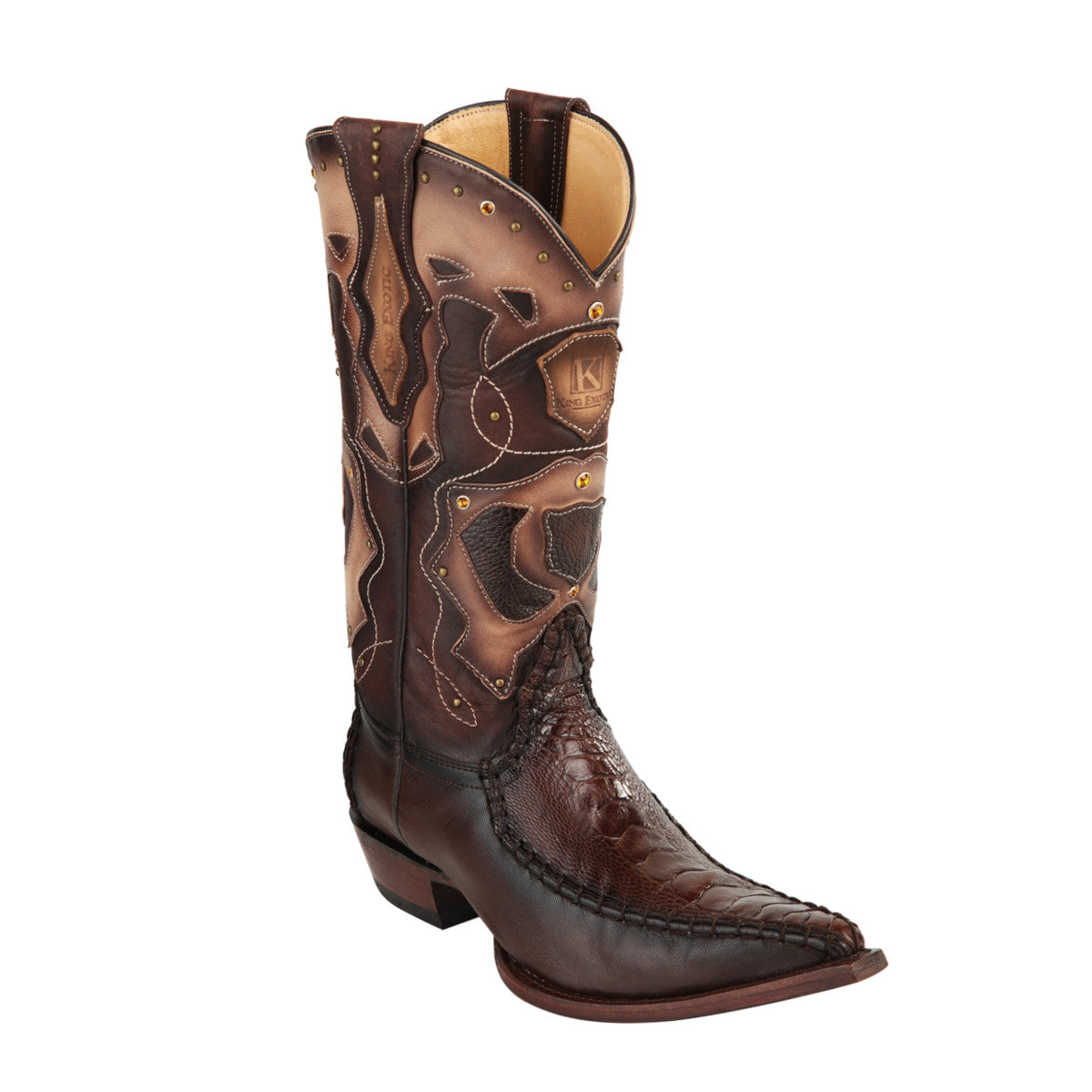 King Exotic H95 3x Toe Ostrich Leg Stitched - Brown