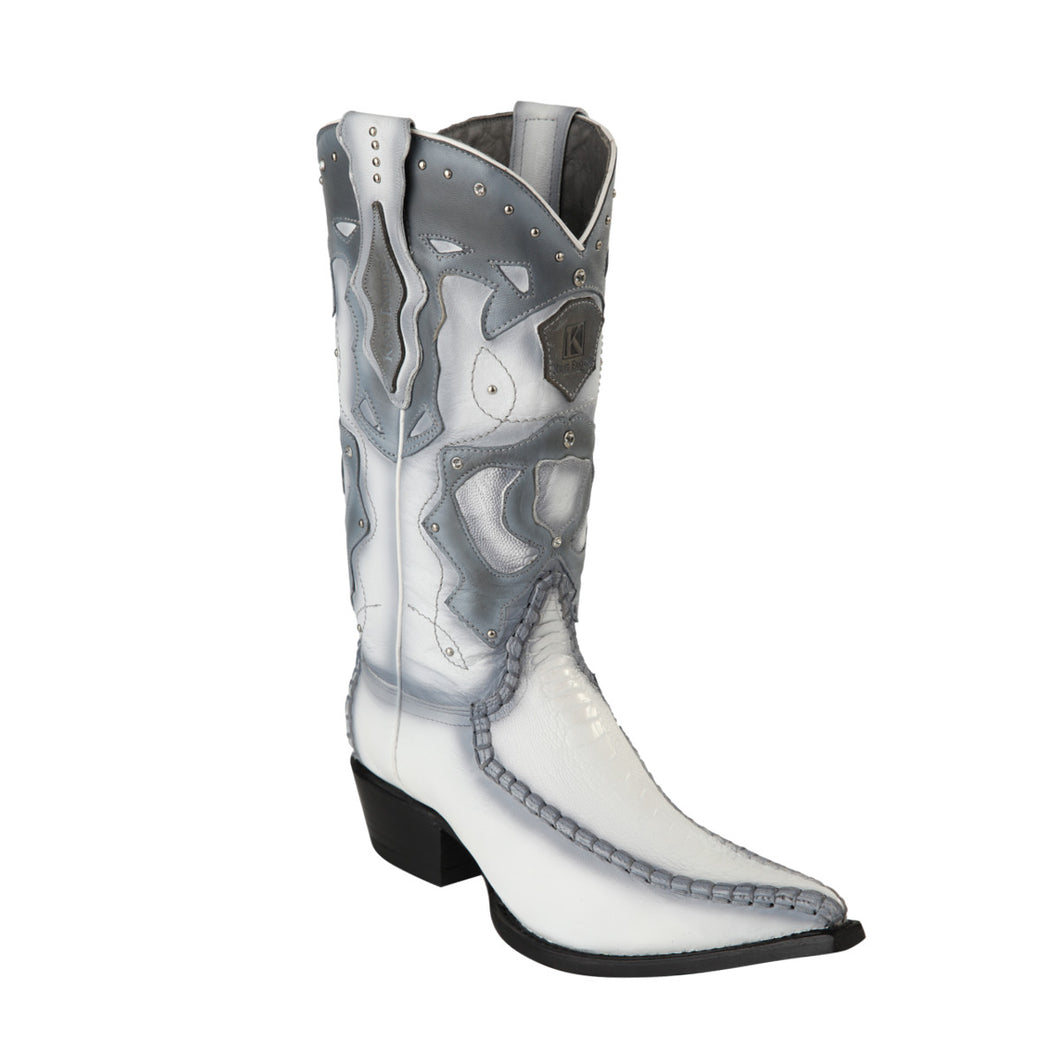 King Exotic H95 3x Toe Ostrich Leg Stitched - Faded White