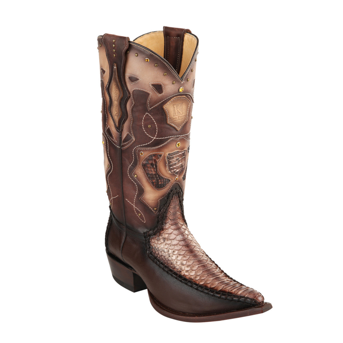 King Exotic H95 3x Toe Python Stitched - Rustic Brown