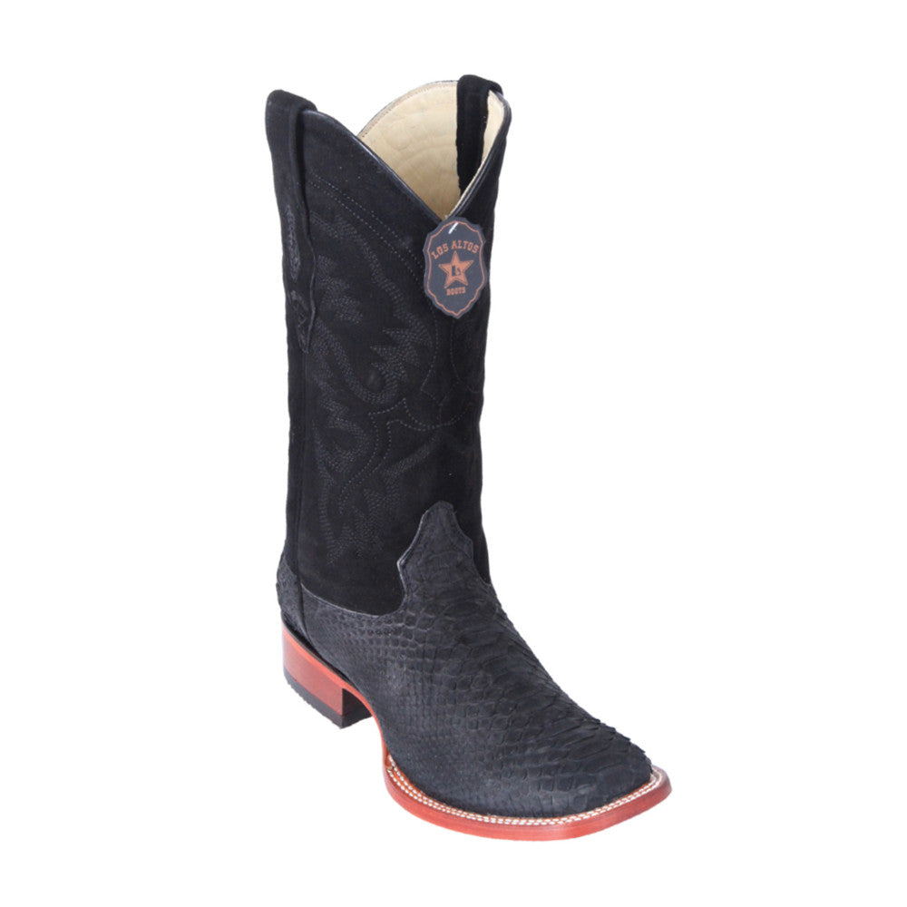 Los Altos Boots H82 Wide Square Toe Python - Nobuck Black