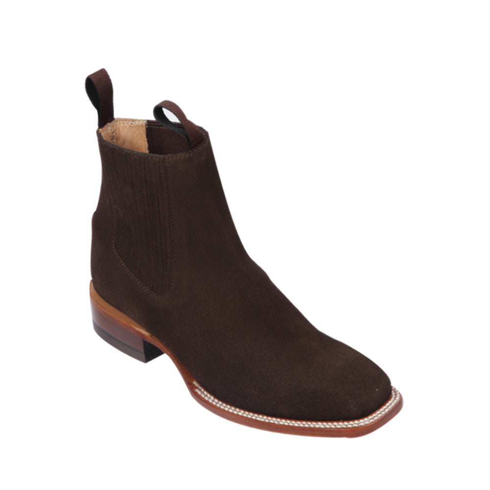 Botin Quincy Square Toe Suede 68B6394 - Chocolate