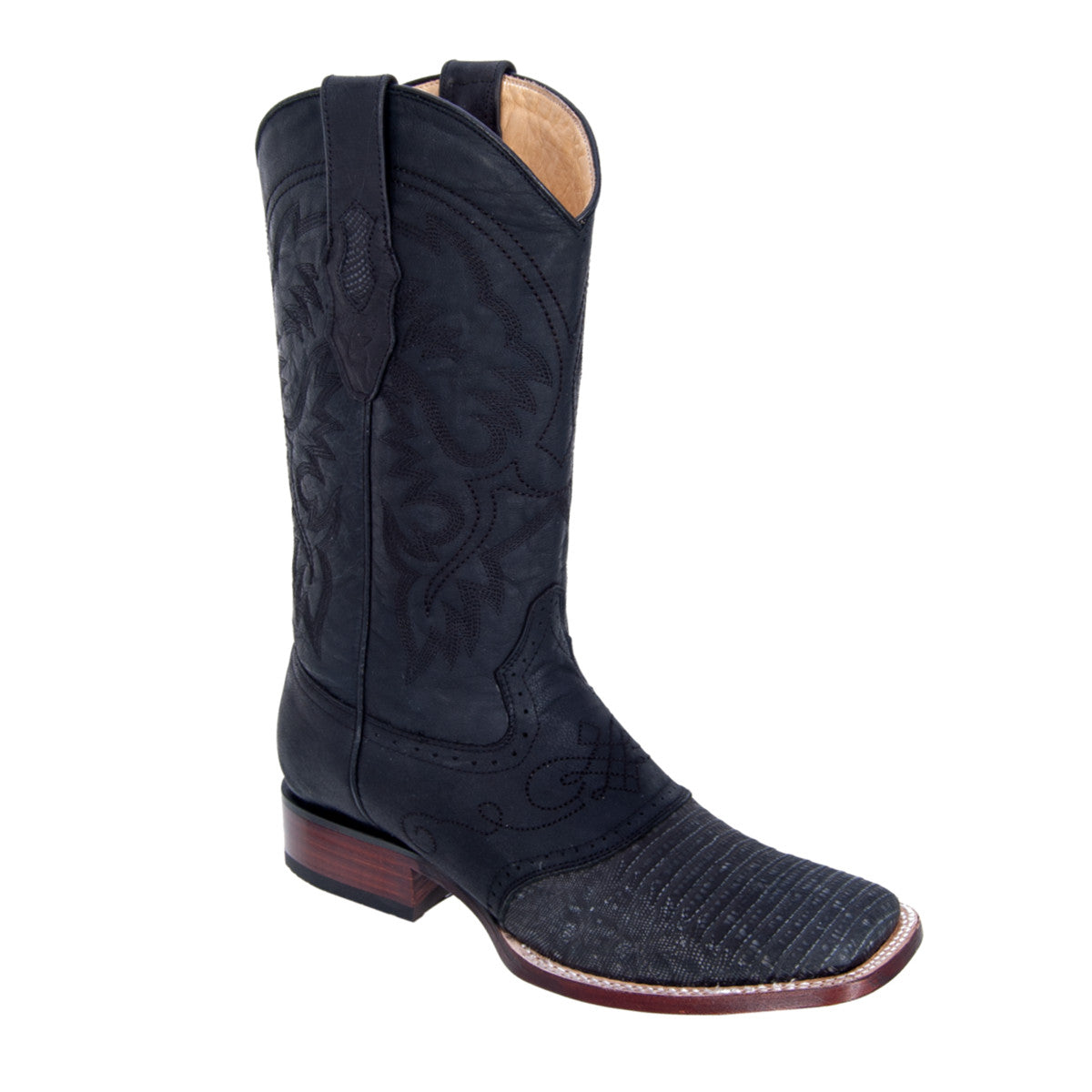 Los Altos Boots Wide Square Toe Lizard w/Saddle