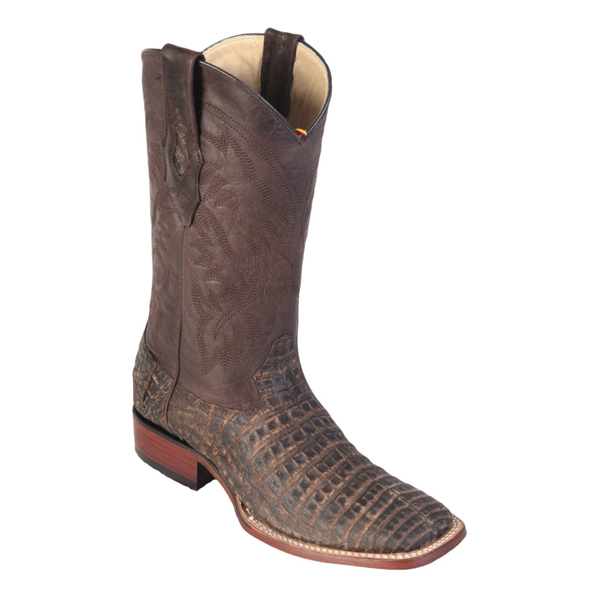 Los Altos Boots Wide Square Toe Caiman Belly