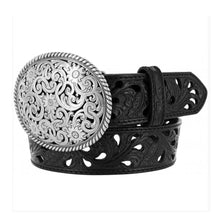 "Load image into Gallery viewer, Tony Lama C50023 ""Pierced Filigree Trophy"" Women's Belt - Black"