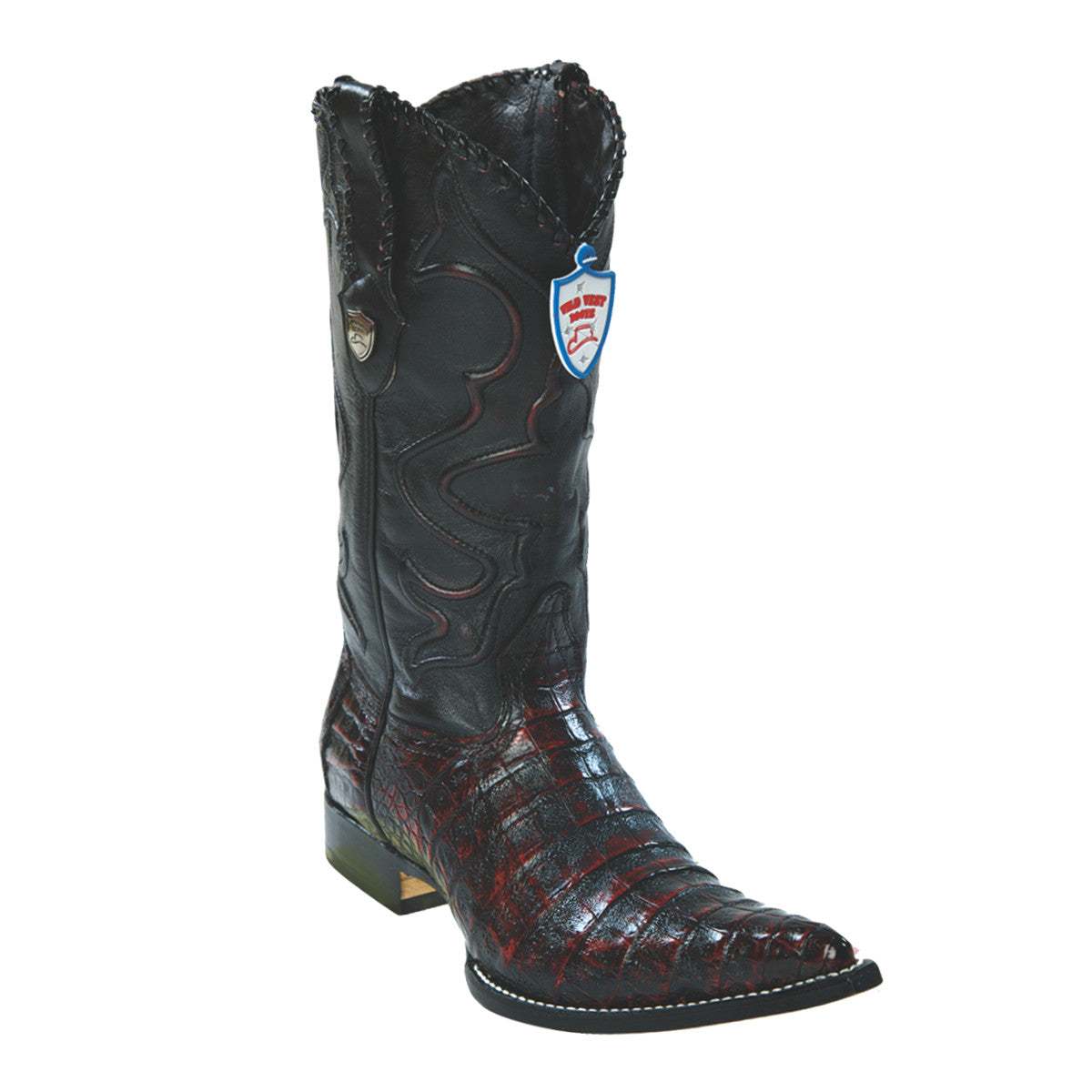 Wild West Boots H95 3x Toe Caiman Belly - Black Cherry