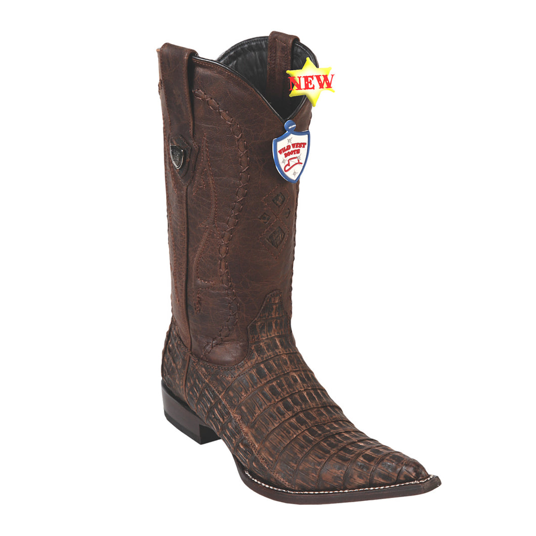 Wild West Boots H95 3x Toe Caiman Belly - Sanded Brown