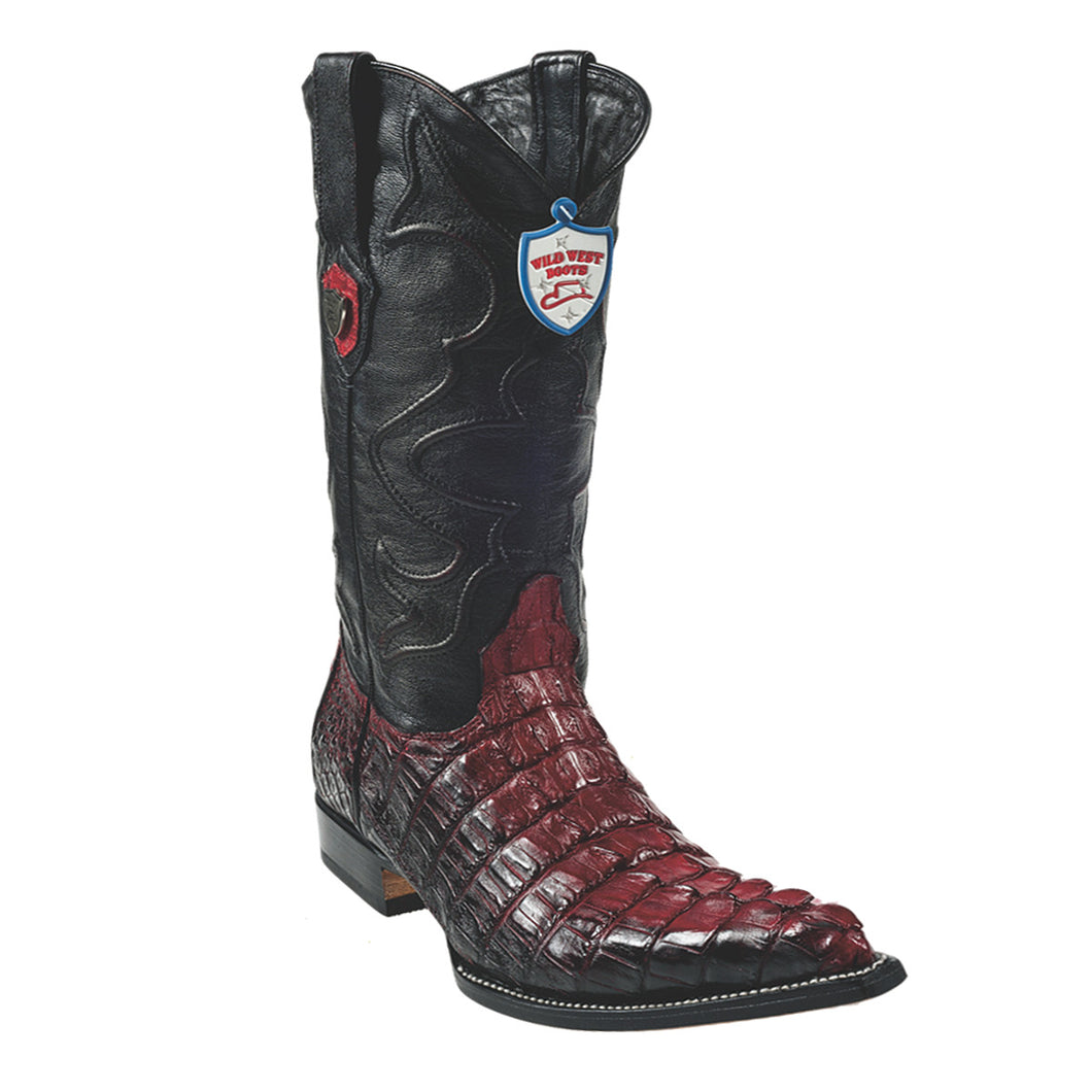 Wild West Boots H95 3x Toe Caiman Tail - Red/Black