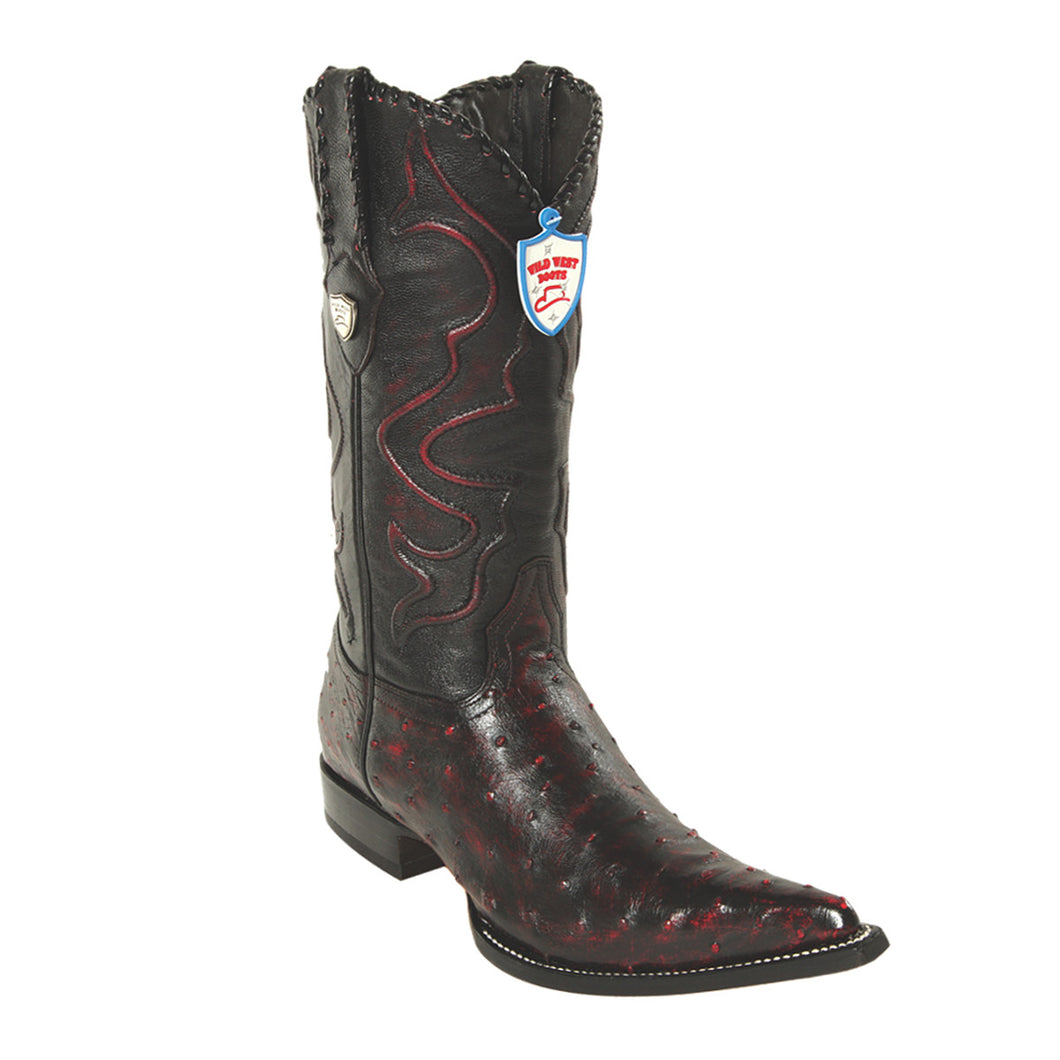 Wild West Boots H95 3x Toe Ostrich - Black Cherry
