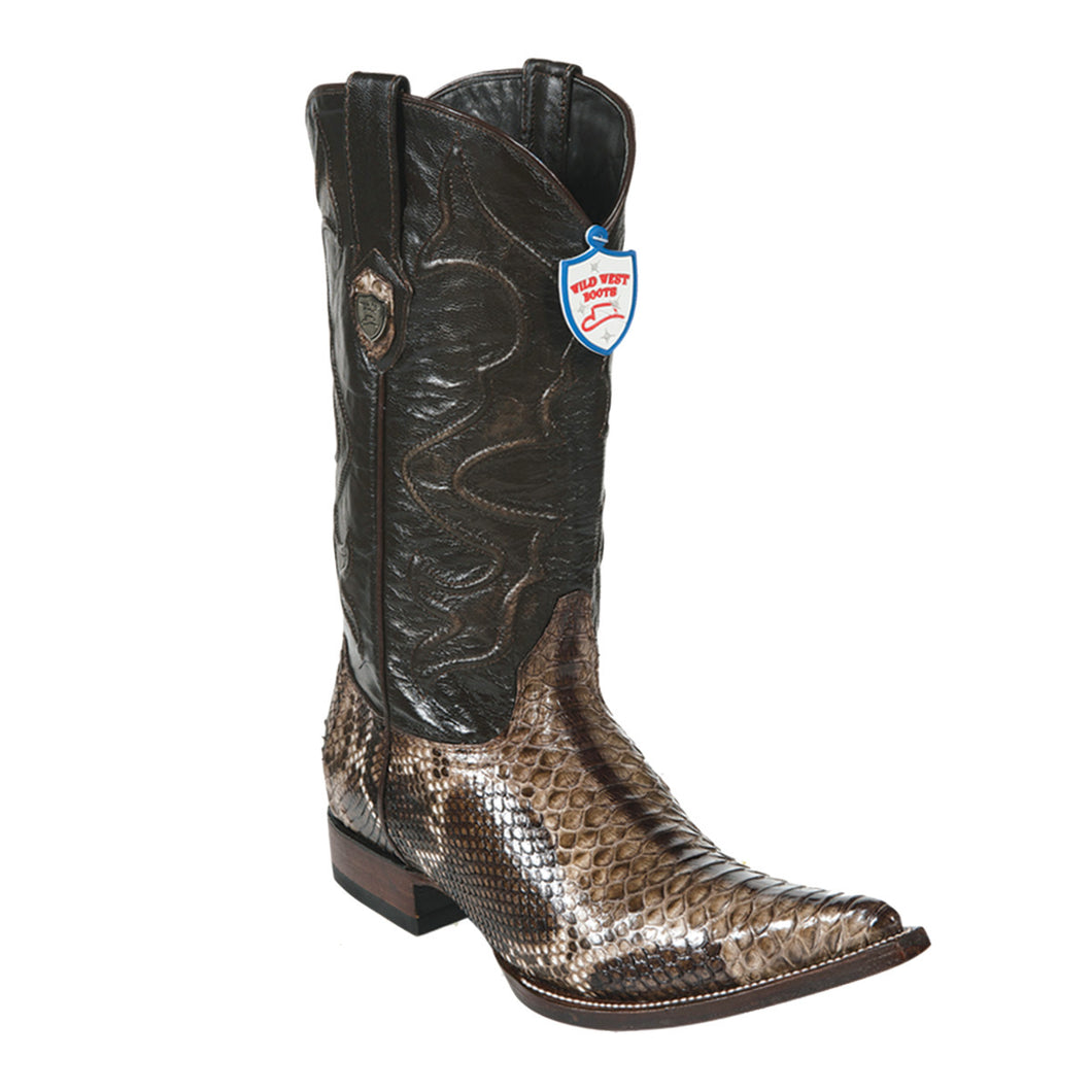 Wild West Boots H95 3x Toe Python - Rustic Brown
