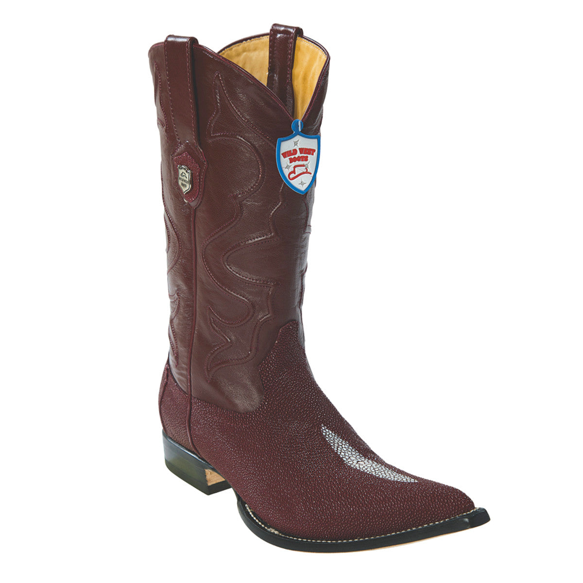Wild West Boots H95 3x Toe Stingray Single Stone - Burgundy