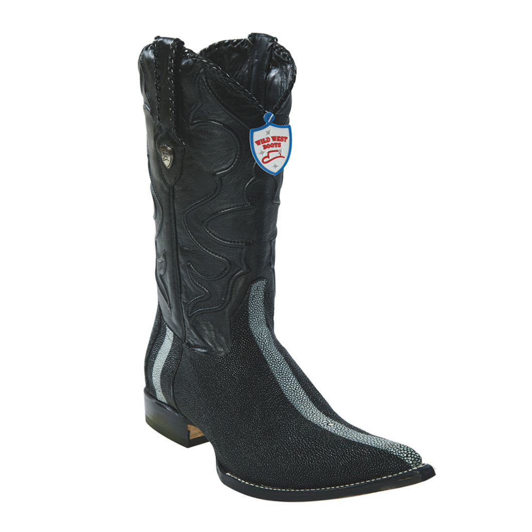 Wild West Boots H95 3x Toe Stingray Rowstone Finish - Black