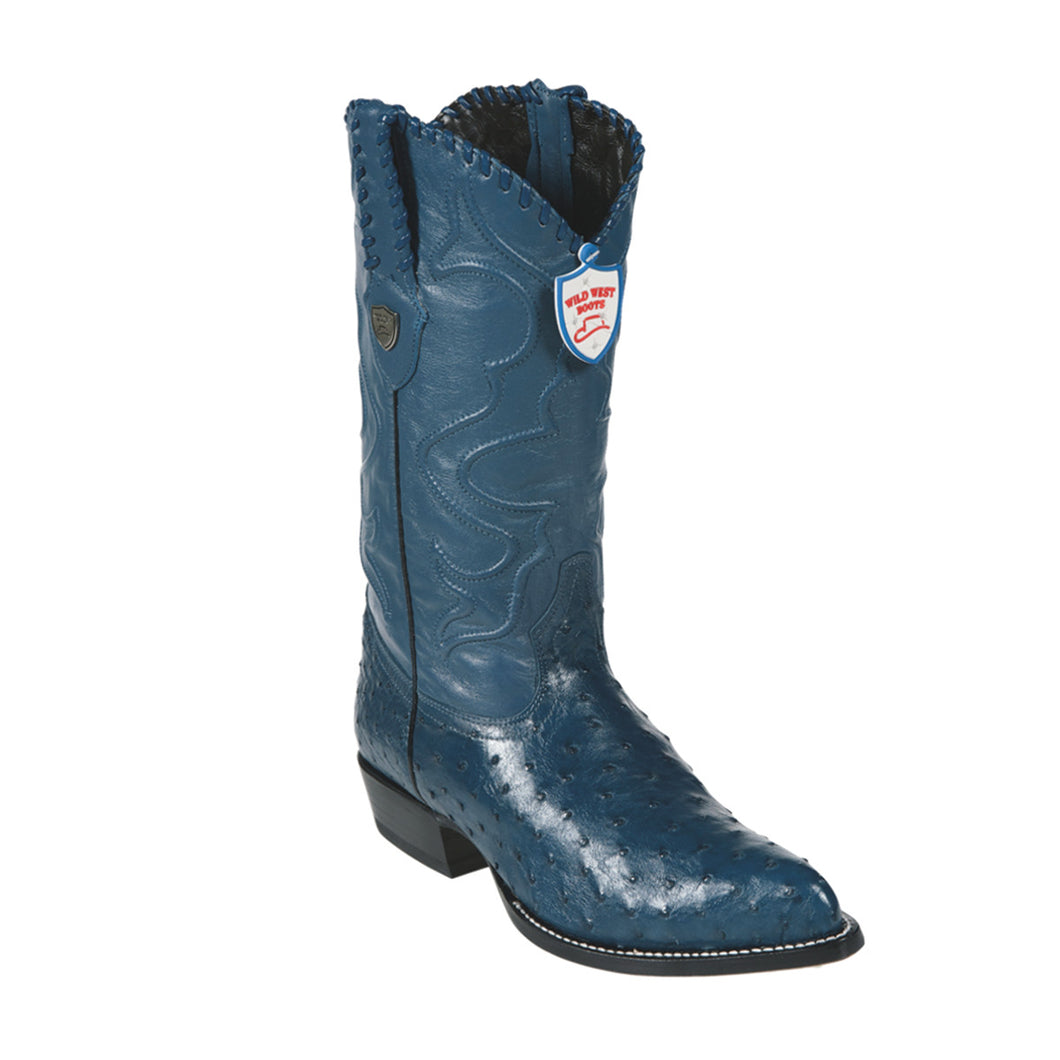 Wild West Boots H99 J-Toe Ostrich - Blue Jean