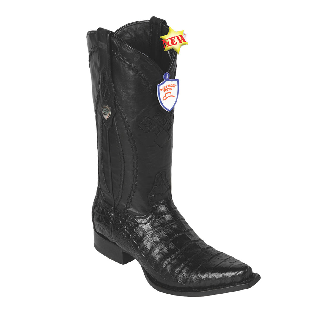 Wild West Boots H94 Snip Toe Caiman Belly - Black