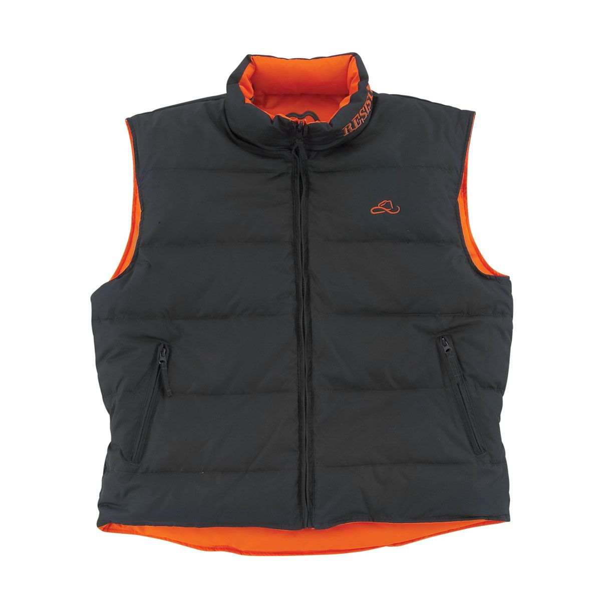 Resistol Men's Branded Down 2-Sided Vest - Orange/Grey