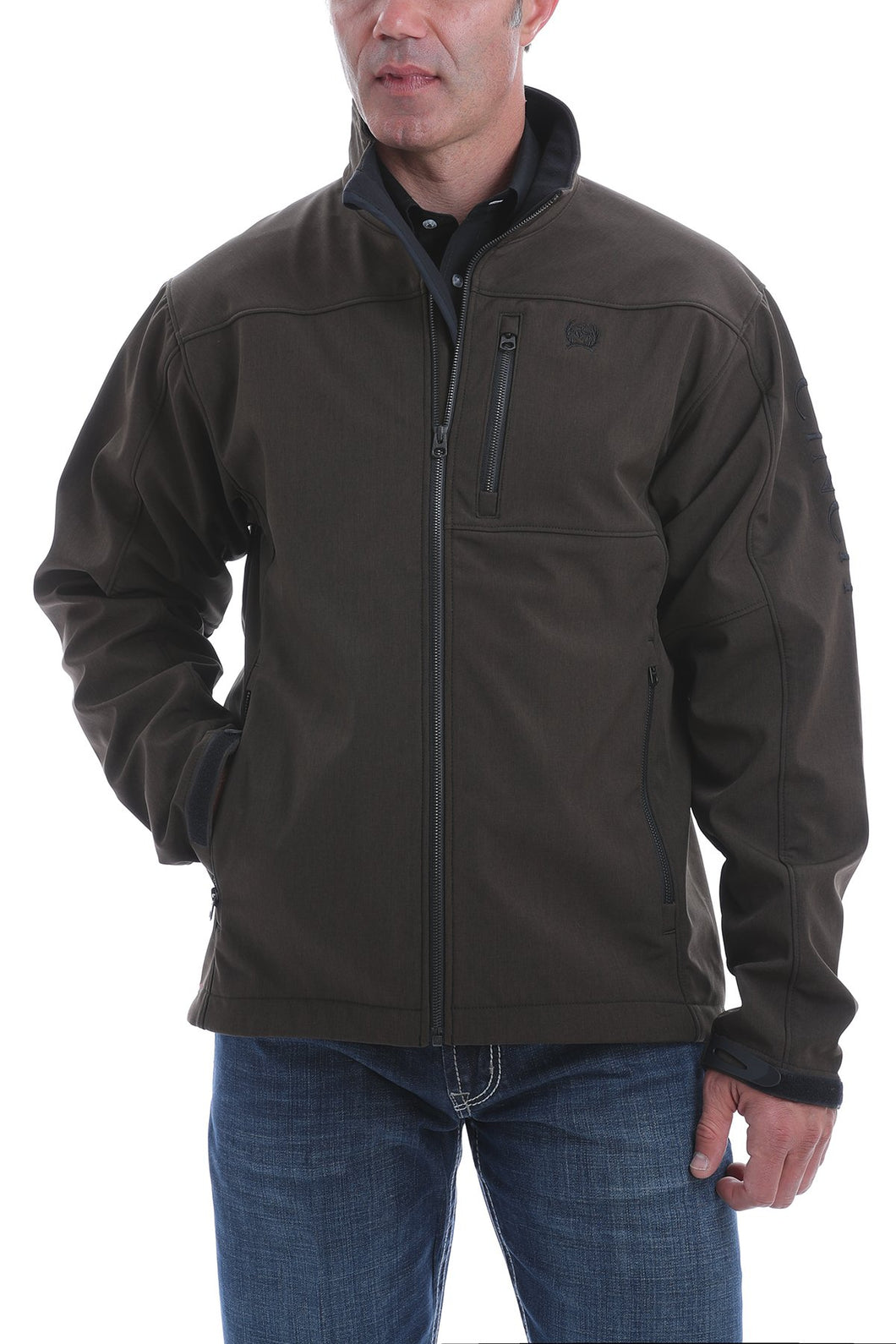 MENS CINCH TEXTURED BONDED JACKET - CHOCOLATE/BLACK