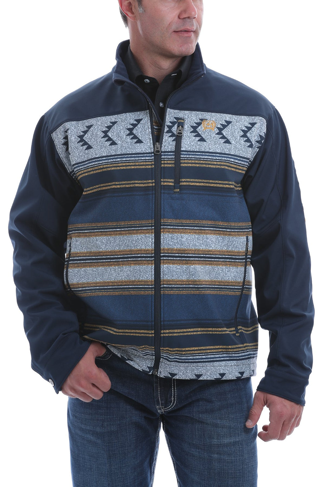 MENS CINCH COLOR BLOCKED SOUTHWESTERN PRINT BONDED JACKET - NAVY