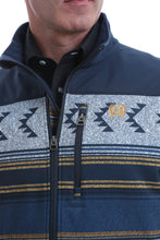 Load image into Gallery viewer, MENS CINCH COLOR BLOCKED SOUTHWESTERN PRINT BONDED JACKET - NAVY