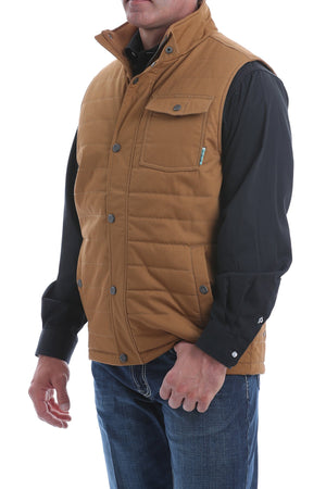 MENS CINCH QUILTED WAX COATED CANVAS VEST - BROWN