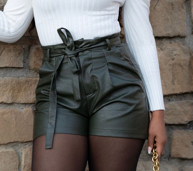 Green Leather Shorts
