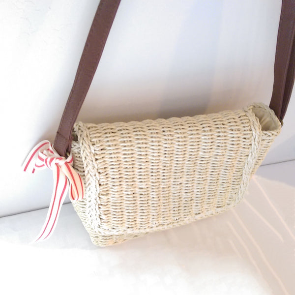 Natural Straw Crossbody Bag I Puffee