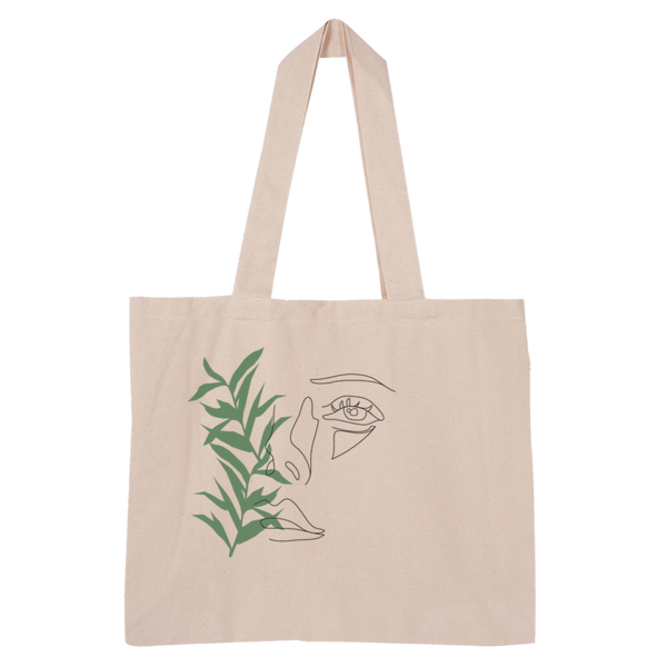 Face Large Organic Tote Bag I Puffee