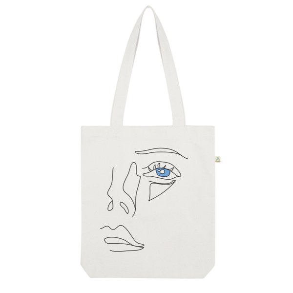 Face Organic Tote Bag - Puffee