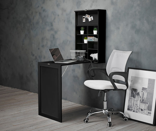 Arlo Black Foldaway Wall Desk & Tate Chair
