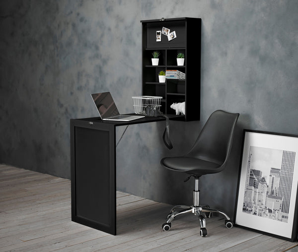 Arlo Black Foldaway Wall Desk & Orsen Chair