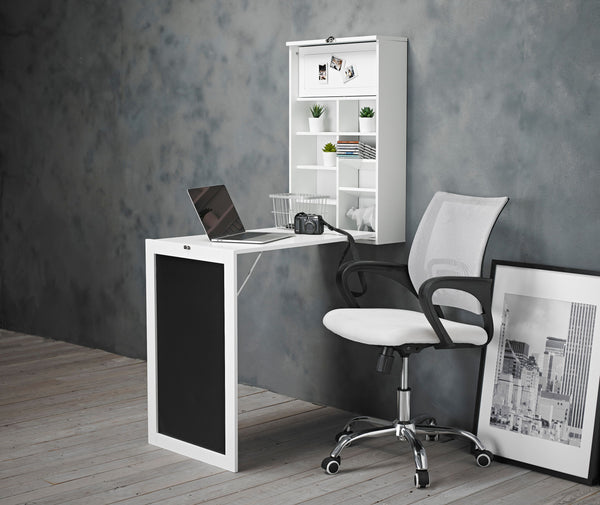 Arlo White Foldaway Wall Desk & Tate Chair