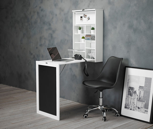 Arlo White Foldaway Wall Desk & Orsen Chair