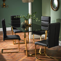 Antibes Gold Dining Table & 4 Antibes Black Chairs