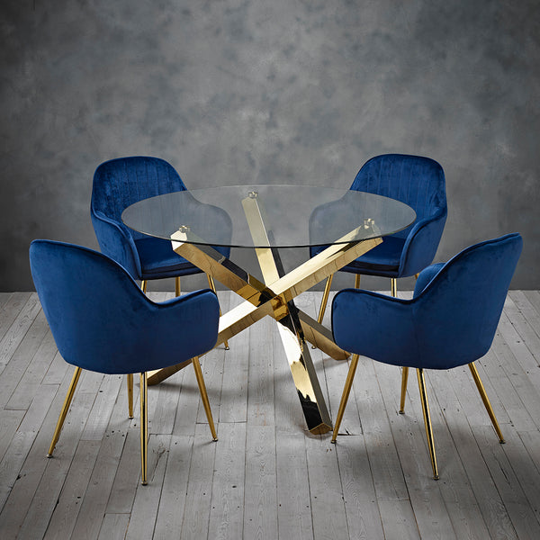 Capri Gold Dining Table & 4 Blue Chairs
