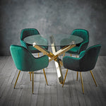 Capri Gold Dining Table & 4 Green Chairs
